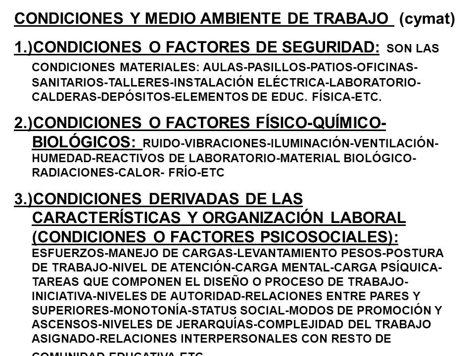 CONDICIONES Y MEDIO AMBIENTE DE TRABAJO (cymat)