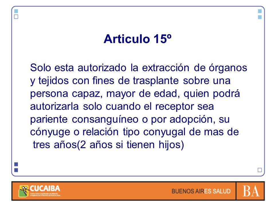 Articulo 15º Solo esta autorizado la extracción de órganos