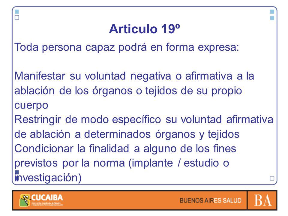 Articulo 19º Toda persona capaz podrá en forma expresa: