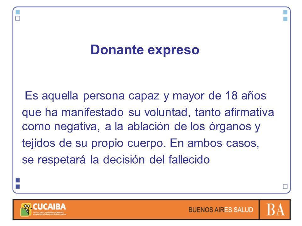 Donante expreso Es aquella persona capaz y mayor de 18 años.