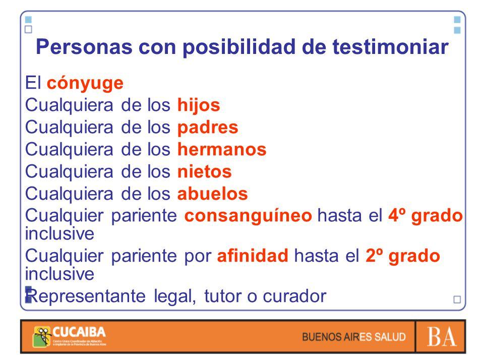 Personas con posibilidad de testimoniar