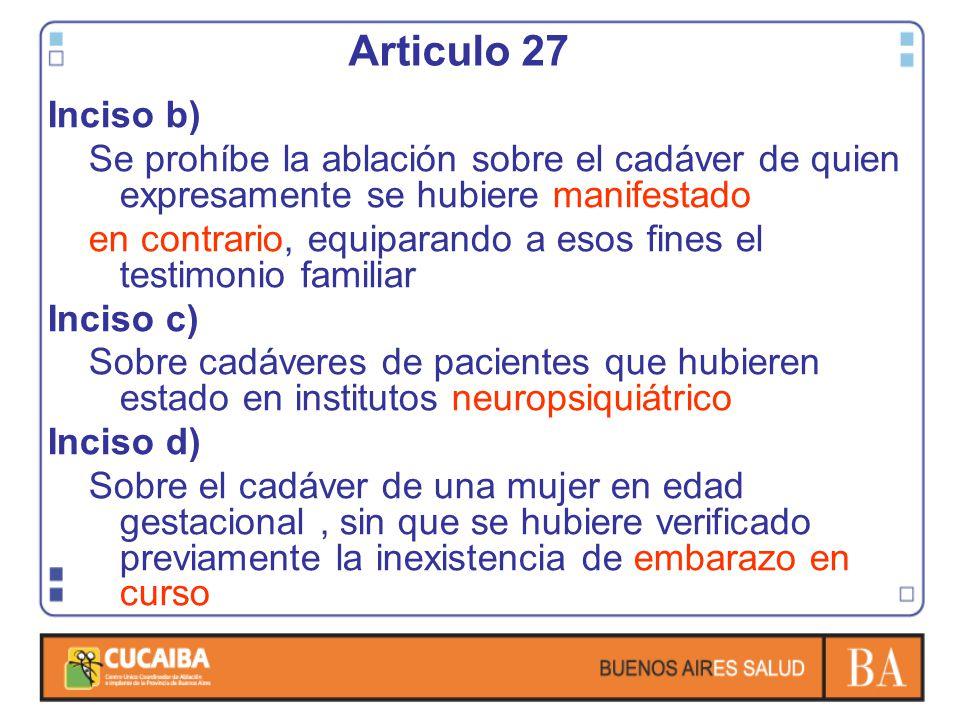 Articulo 27 Inciso b) Se prohíbe la ablación sobre el cadáver de quien expresamente se hubiere manifestado.