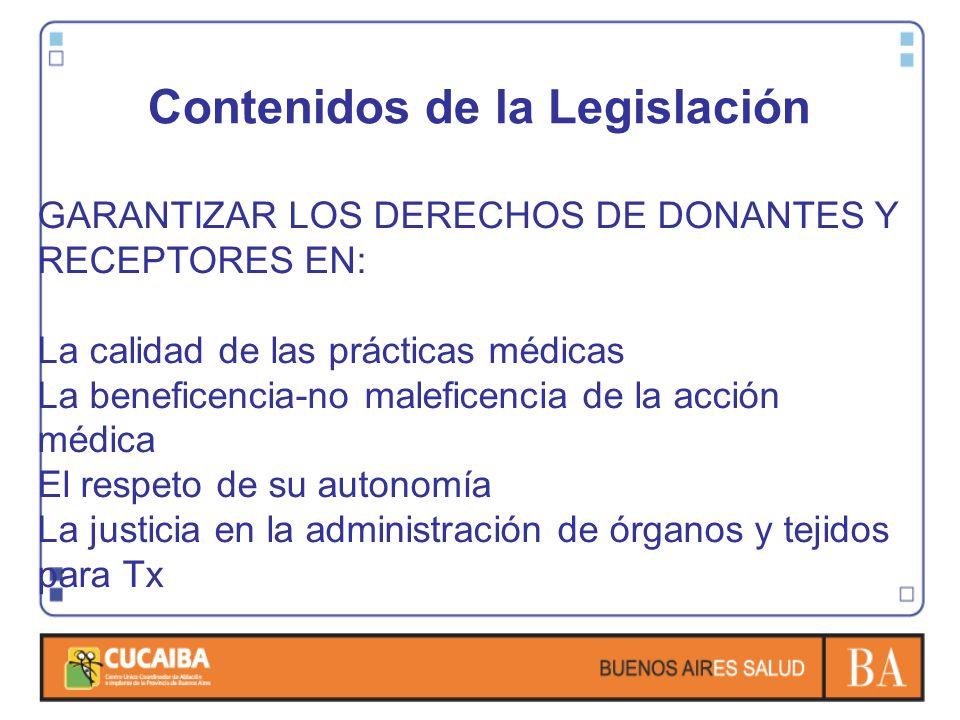 Contenidos de la Legislación