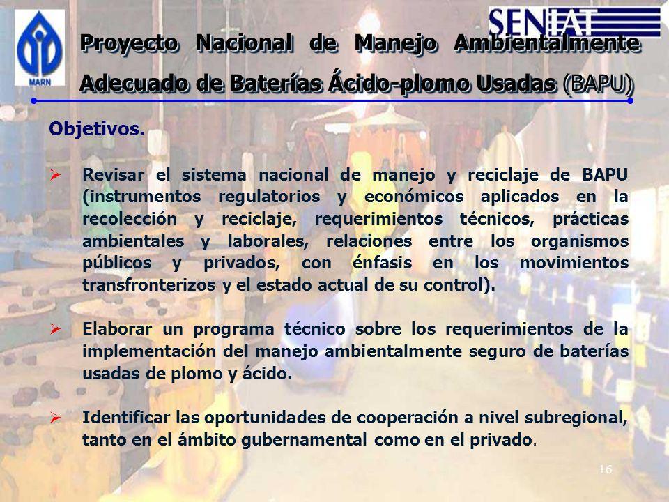 Proyecto Nacional de Manejo Ambientalmente Adecuado de Baterías Ácido-plomo Usadas (BAPU)