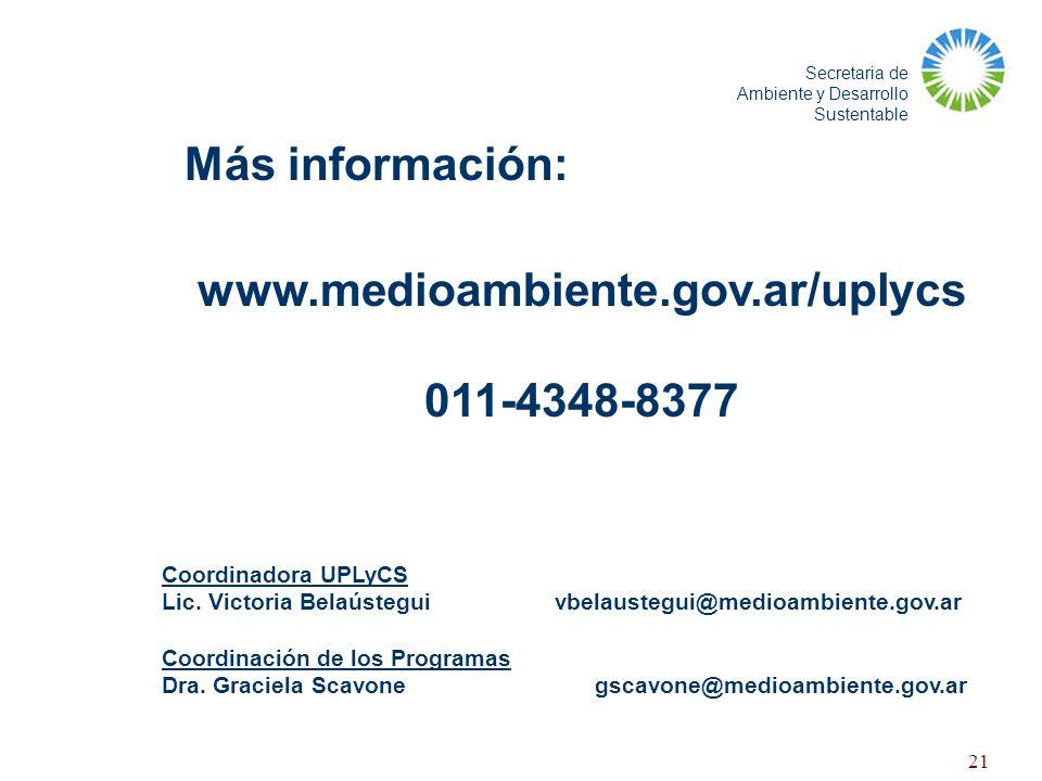 www.medioambiente.gov.ar/uplycs 011-4348-8377