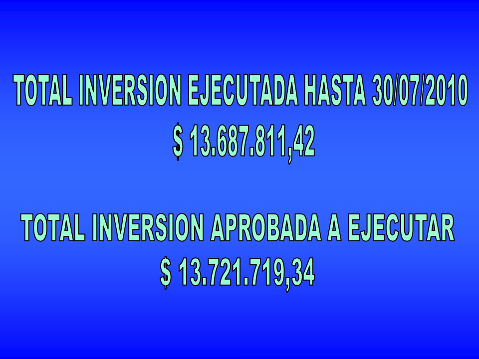 TOTAL INVERSION EJECUTADA HASTA 30/07/2010 $ 13.687.811,42