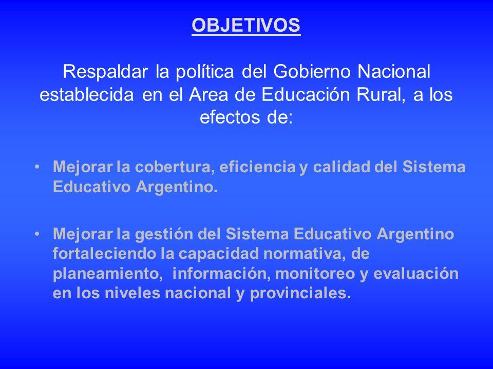 OBJETIVOS Respaldar la política del Gobierno Nacional establecida en el Area de Educación Rural, a los efectos de: