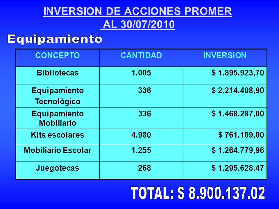 INVERSION DE ACCIONES PROMER AL 30/07/2010