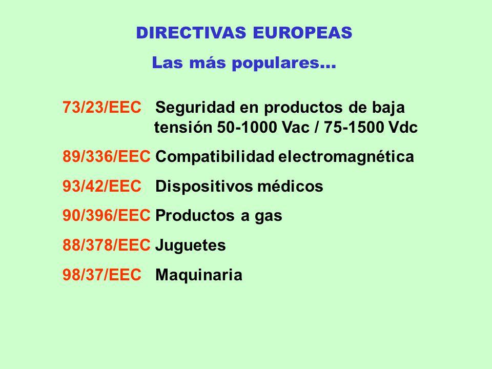 DIRECTIVAS EUROPEAS Las más populares... 73/23/EEC Seguridad en productos de baja tensión 50-1000 Vac / 75-1500 Vdc.