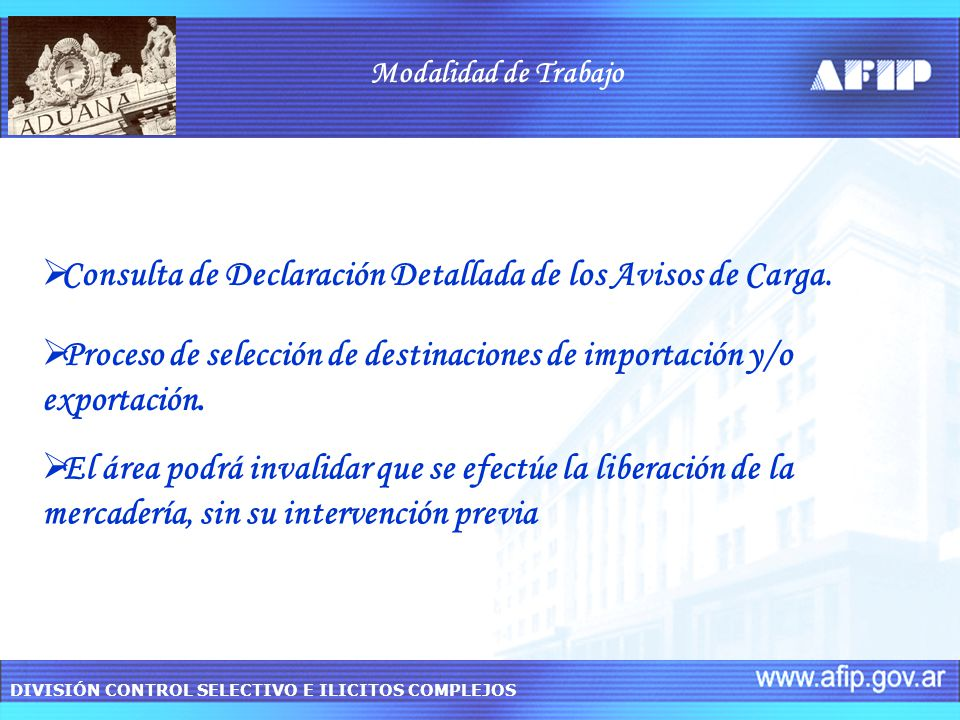 Consulta de Declaración Detallada de los Avisos de Carga.