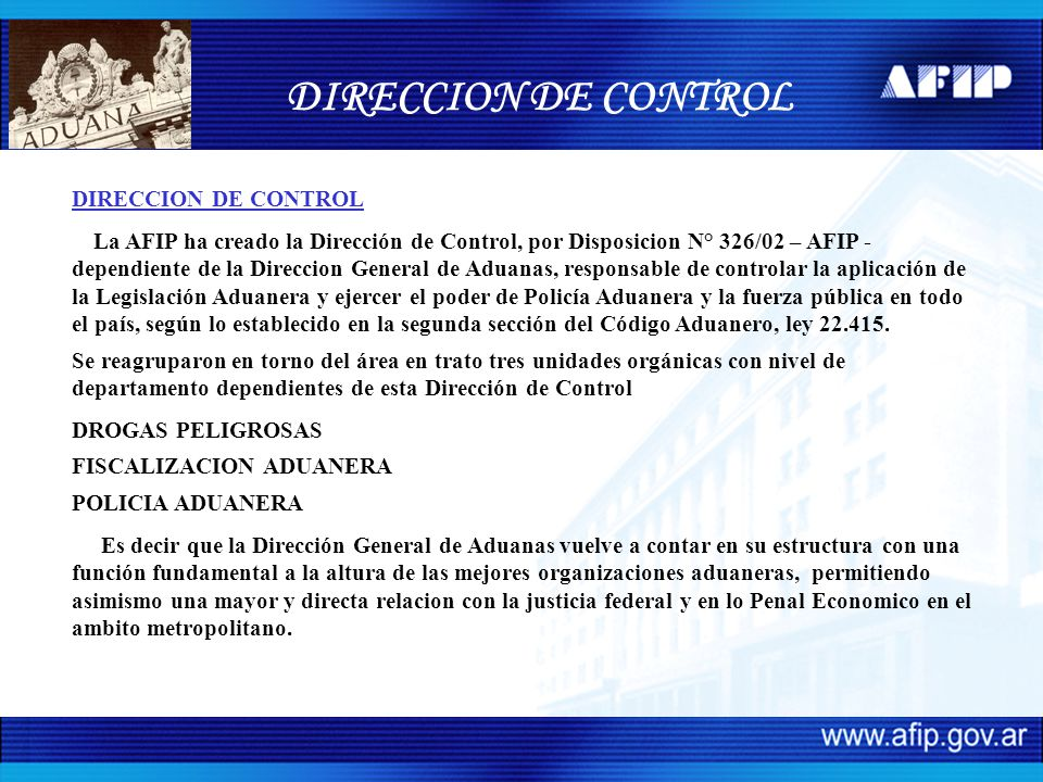 DIRECCION DE CONTROL DIRECCION DE CONTROL