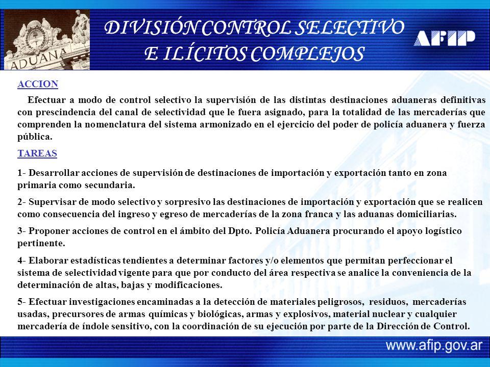 DIVISIÓN CONTROL SELECTIVO E ILÍCITOS COMPLEJOS