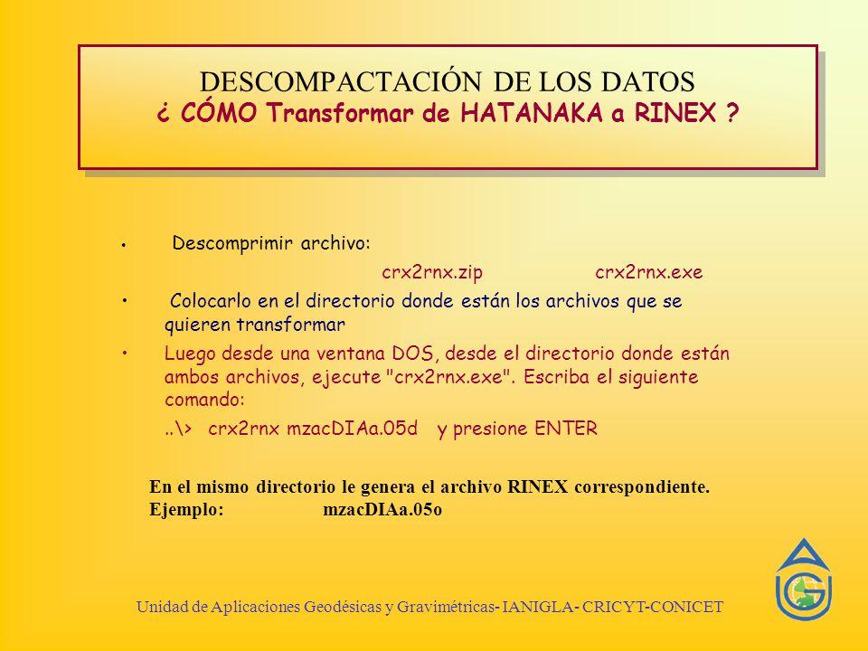 DESCOMPACTACIÓN DE LOS DATOS ¿ CÓMO Transformar de HATANAKA a RINEX