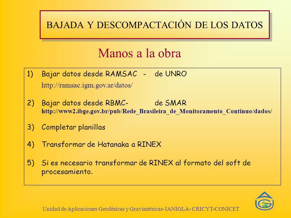 BAJADA Y DESCOMPACTACIÓN DE LOS DATOS