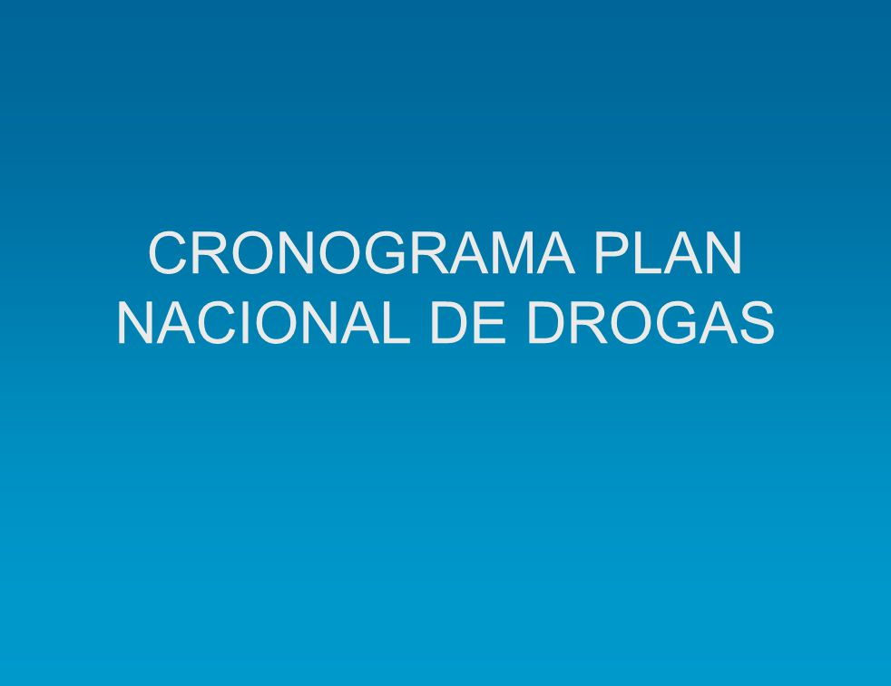 CRONOGRAMA PLAN NACIONAL DE DROGAS
