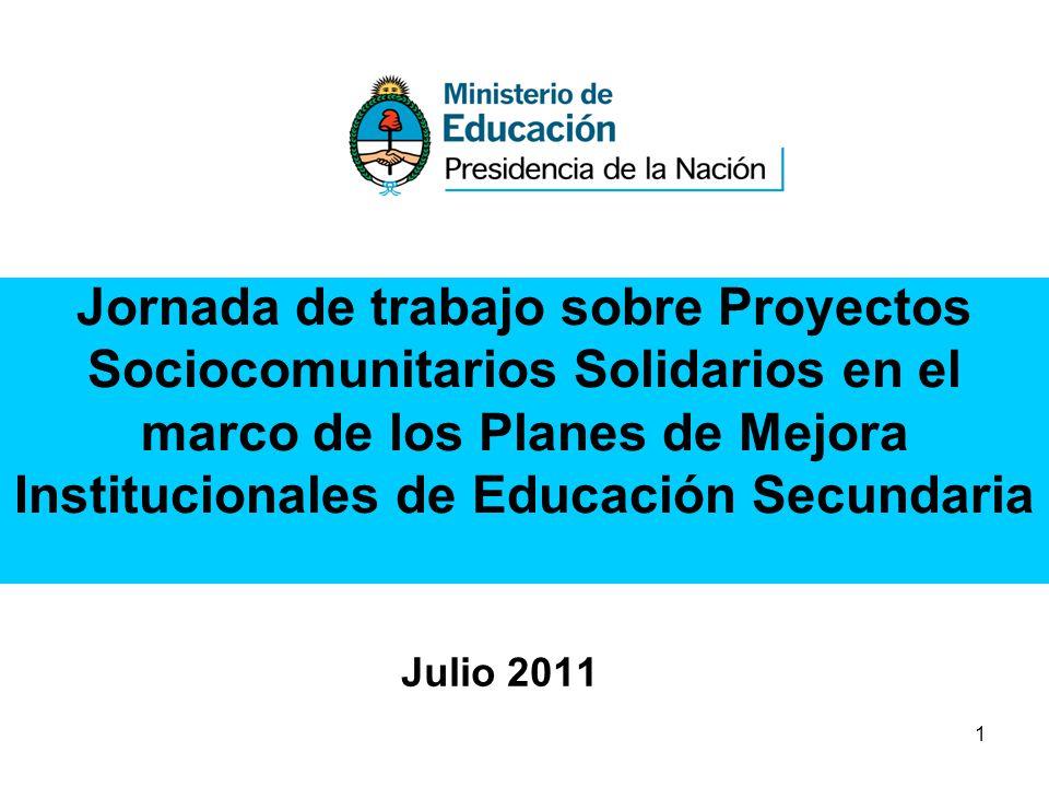 Jornada de trabajo sobre Proyectos Sociocomunitarios Solidarios en el marco de los Planes de Mejora Institucionales de Educación Secundaria