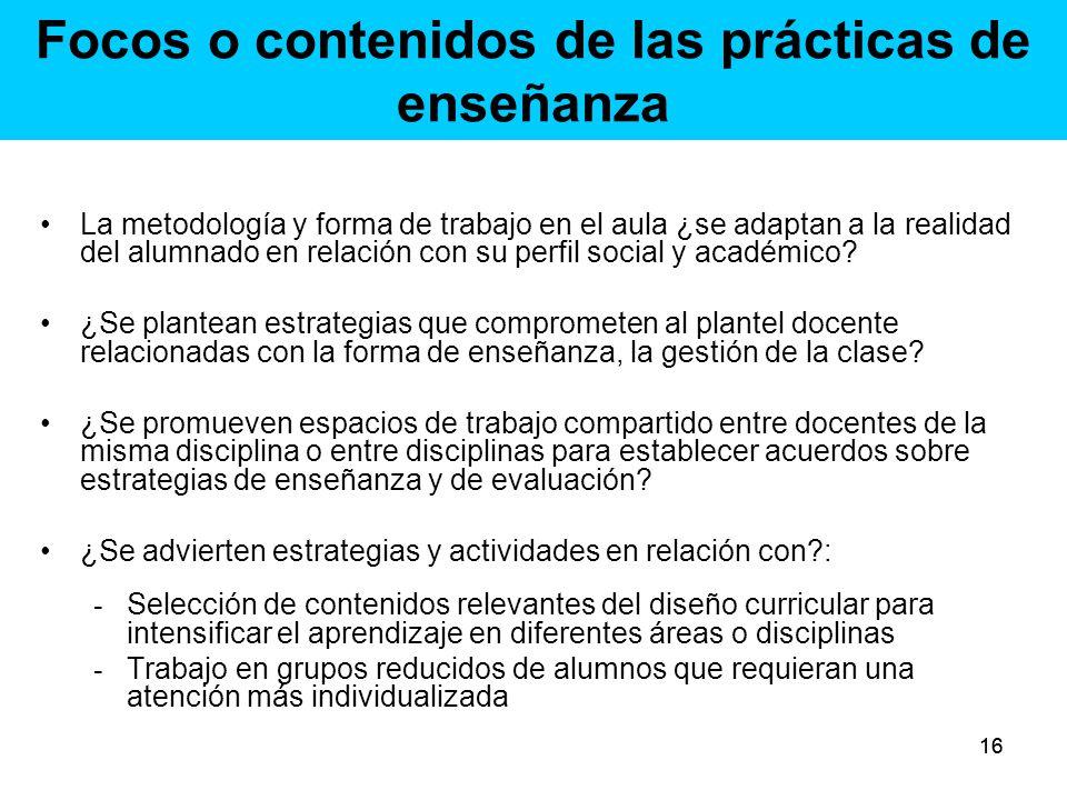 Focos o contenidos de las prácticas de enseñanza