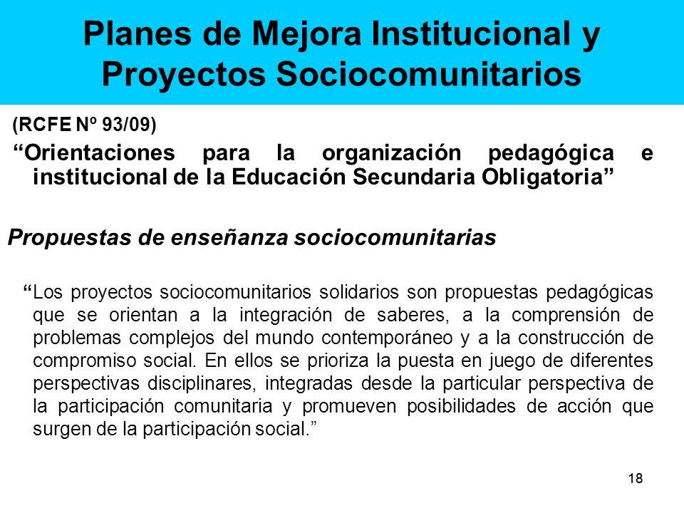 Planes de Mejora Institucional y Proyectos Sociocomunitarios