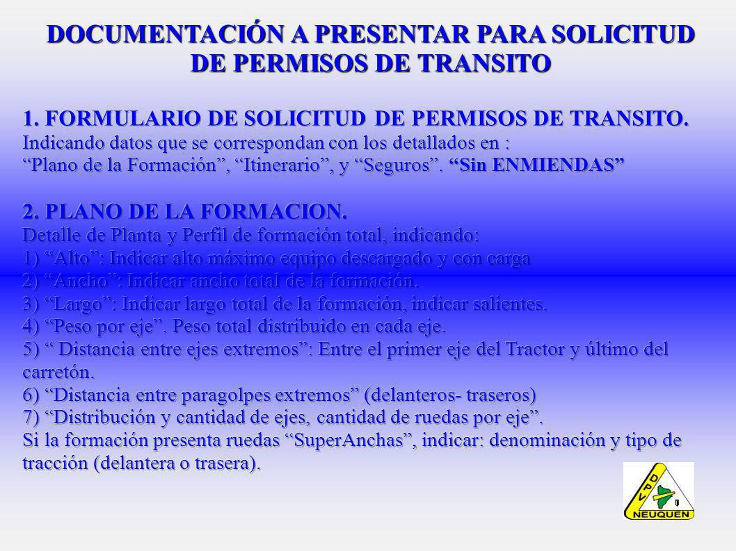 DOCUMENTACIÓN A PRESENTAR PARA SOLICITUD DE PERMISOS DE TRANSITO
