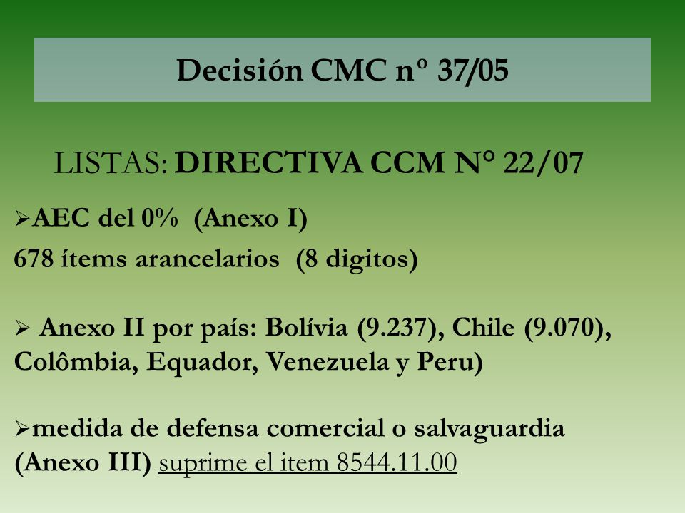 LISTAS: DIRECTIVA CCM N° 22/07