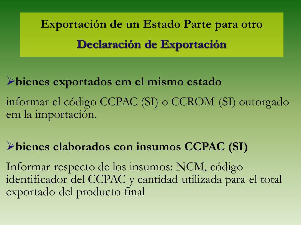 Exportación de un Estado Parte para otro Declaración de Exportación