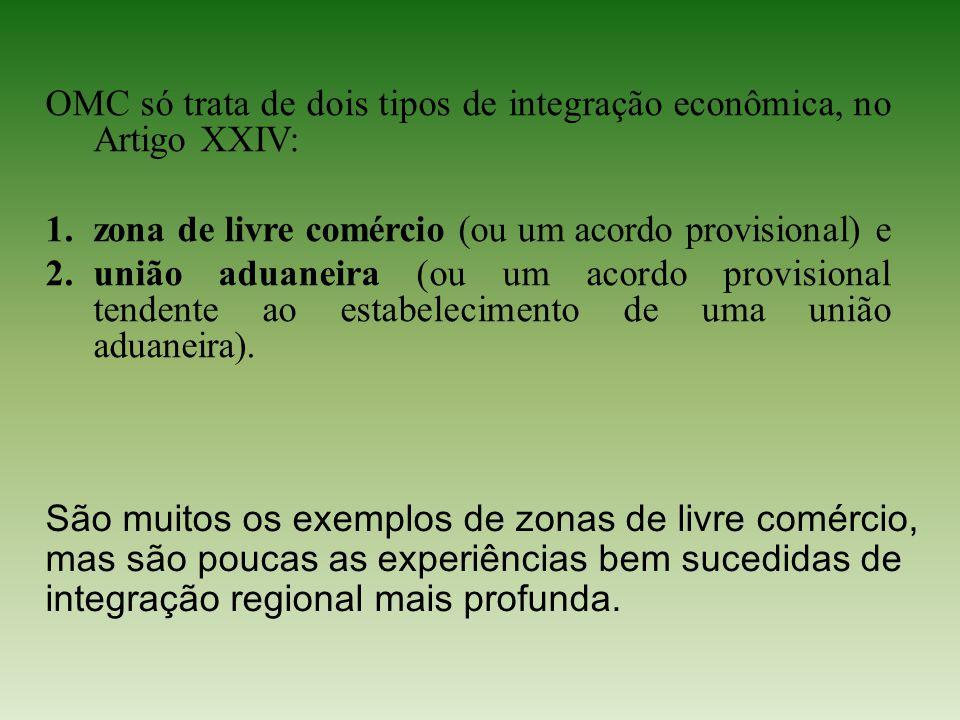 OMC só trata de dois tipos de integração econômica, no Artigo XXIV: