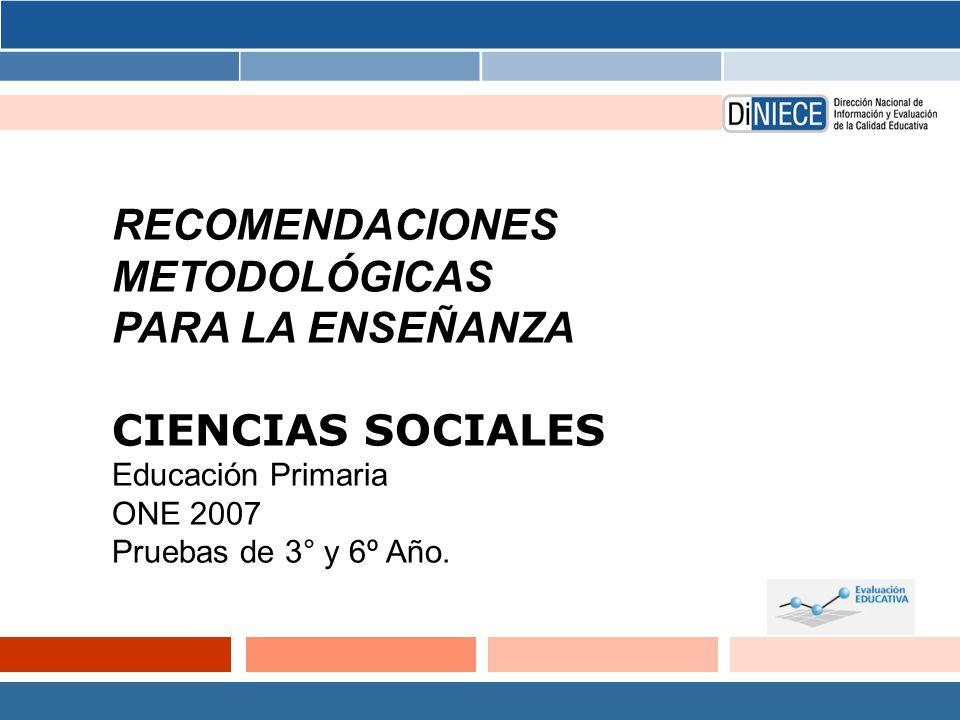 RECOMENDACIONES METODOLÓGICAS PARA LA ENSEÑANZA CIENCIAS SOCIALES
