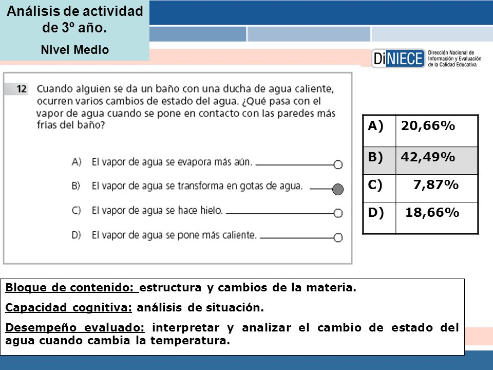 Análisis de actividad de 3º año. Nivel Medio