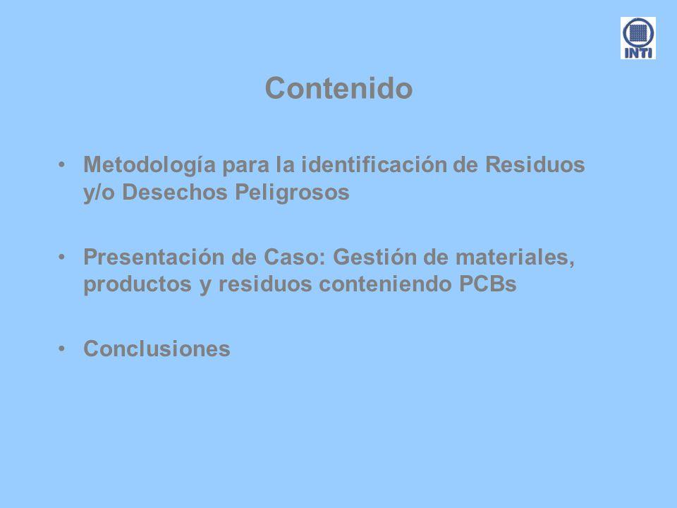 Contenido Metodología para la identificación de Residuos y/o Desechos Peligrosos.