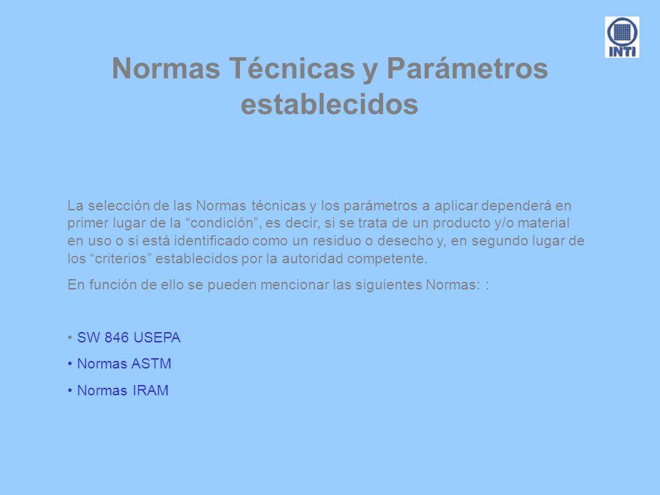 Normas Técnicas y Parámetros establecidos