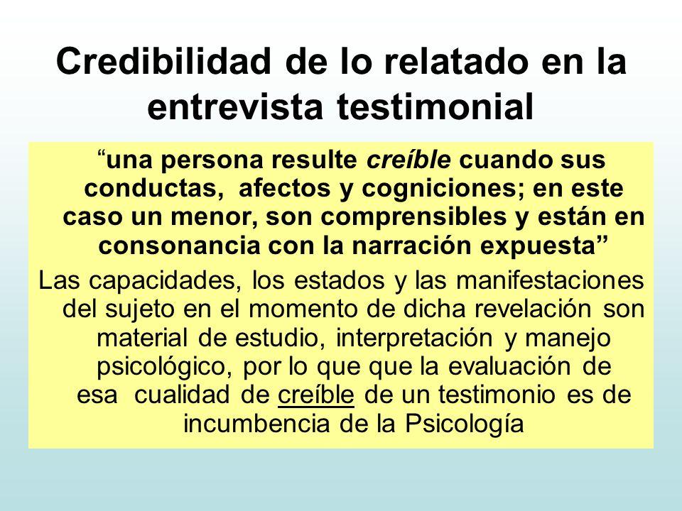 Credibilidad de lo relatado en la entrevista testimonial