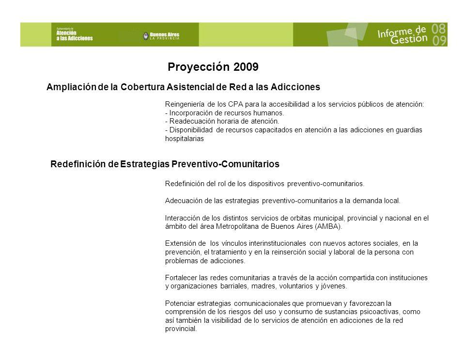 Proyección 2009 Ampliación de la Cobertura Asistencial de Red a las Adicciones.