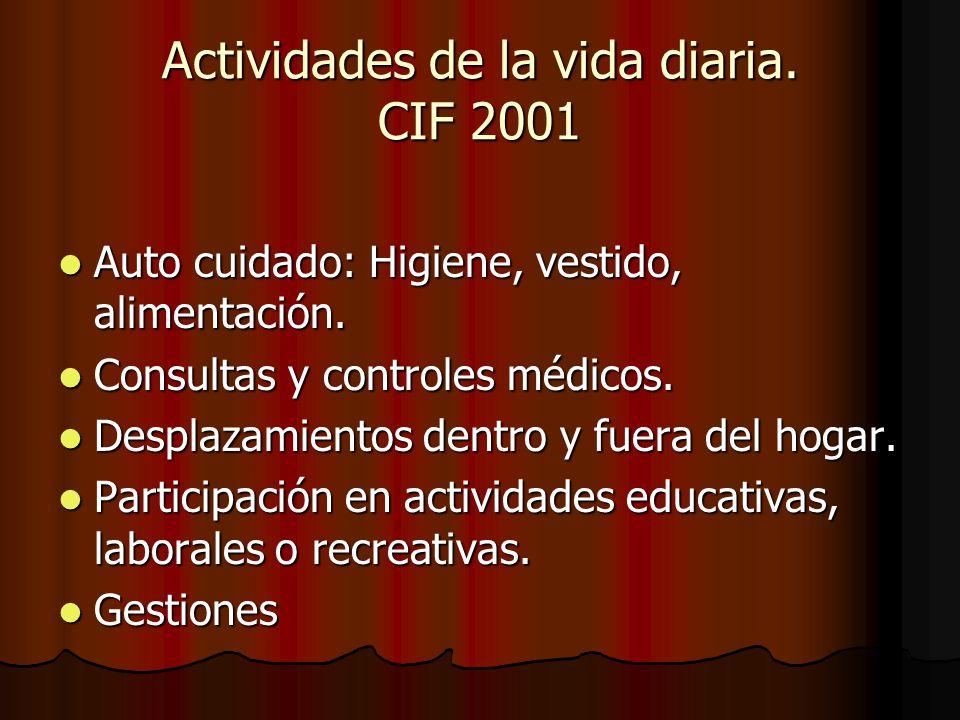 Actividades de la vida diaria. CIF 2001