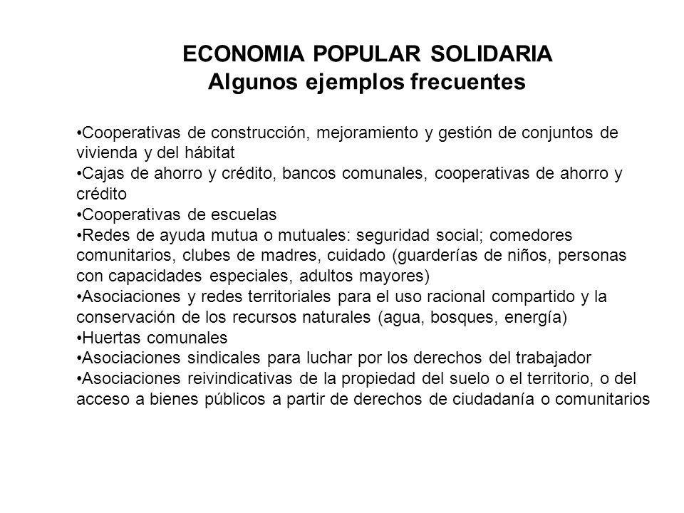 ECONOMIA POPULAR SOLIDARIA Algunos ejemplos frecuentes