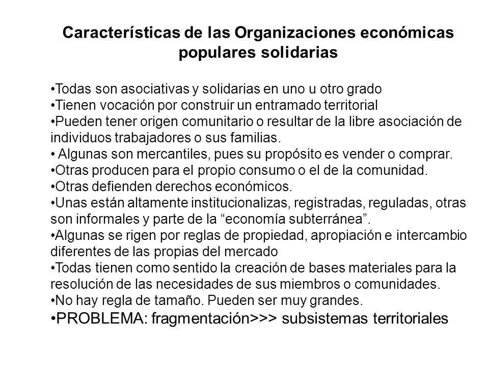 Características de las Organizaciones económicas populares solidarias