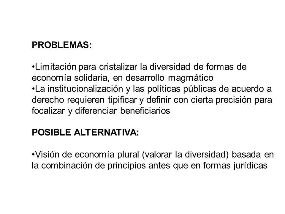 PROBLEMAS: Limitación para cristalizar la diversidad de formas de economía solidaria, en desarrollo magmático.