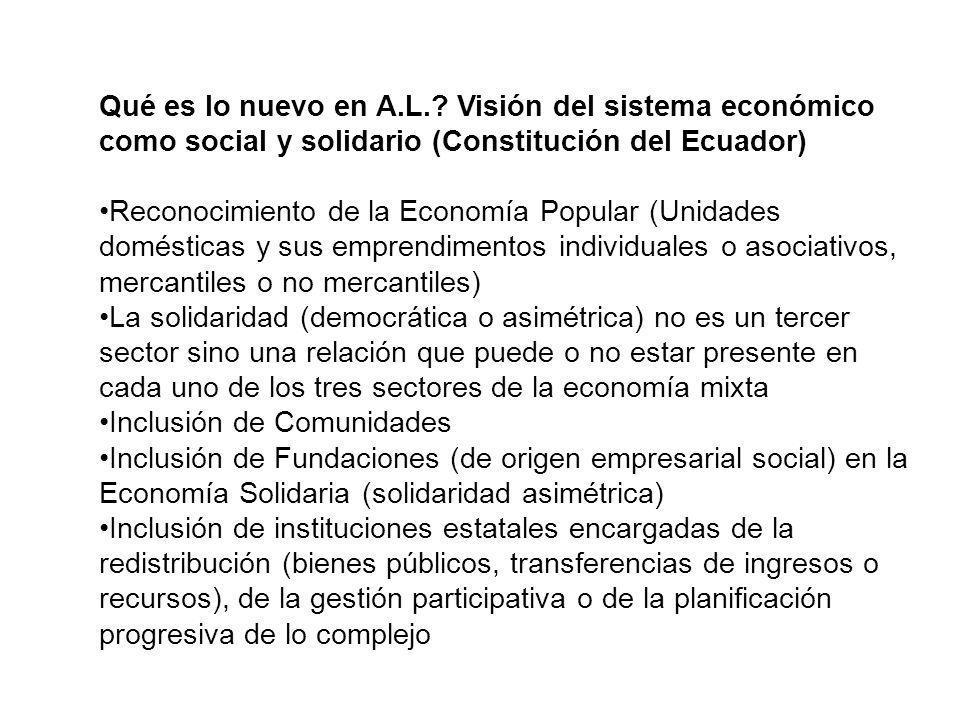 Qué es lo nuevo en A.L. Visión del sistema económico como social y solidario (Constitución del Ecuador)