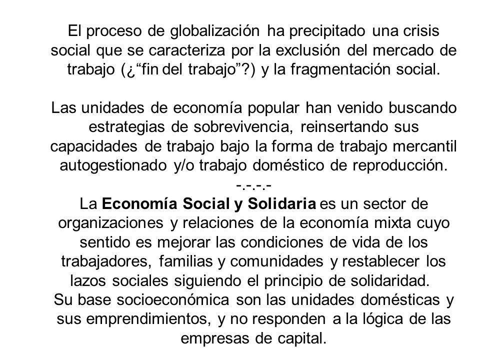 El proceso de globalización ha precipitado una crisis social que se caracteriza por la exclusión del mercado de trabajo (¿ fin del trabajo ) y la fragmentación social.