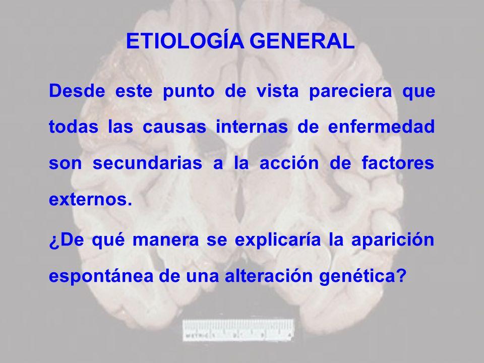 ETIOLOGÍA GENERAL Desde este punto de vista pareciera que todas las causas internas de enfermedad son secundarias a la acción de factores externos.