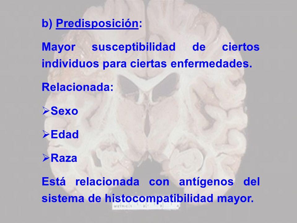 b) Predisposición:Mayor susceptibilidad de ciertos individuos para ciertas enfermedades. Relacionada: