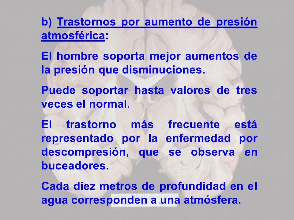 b) Trastornos por aumento de presión atmosférica:
