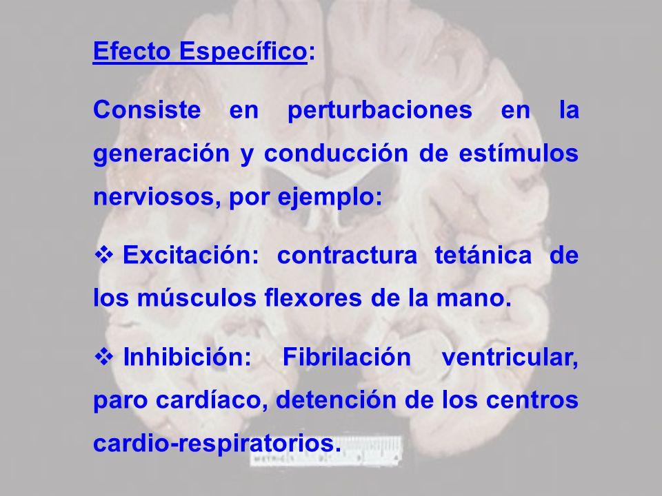 Efecto Específico:Consiste en perturbaciones en la generación y conducción de estímulos nerviosos, por ejemplo: