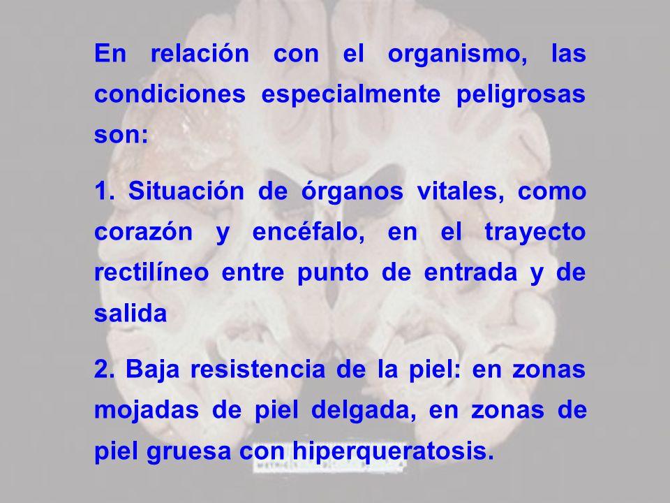 En relación con el organismo, las condiciones especialmente peligrosas son:
