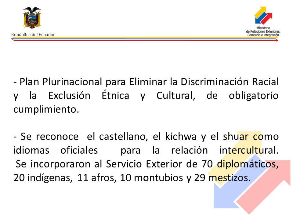 República del Ecuador Plan Plurinacional para Eliminar la Discriminación Racial y la Exclusión Étnica y Cultural, de obligatorio cumplimiento.