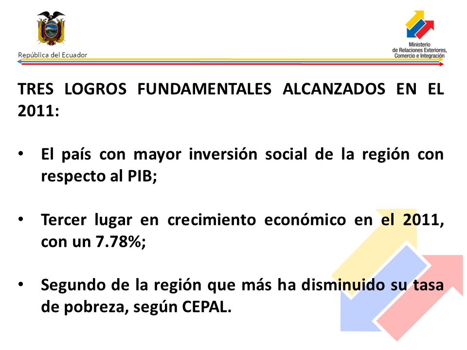 TRES LOGROS FUNDAMENTALES ALCANZADOS EN EL 2011: