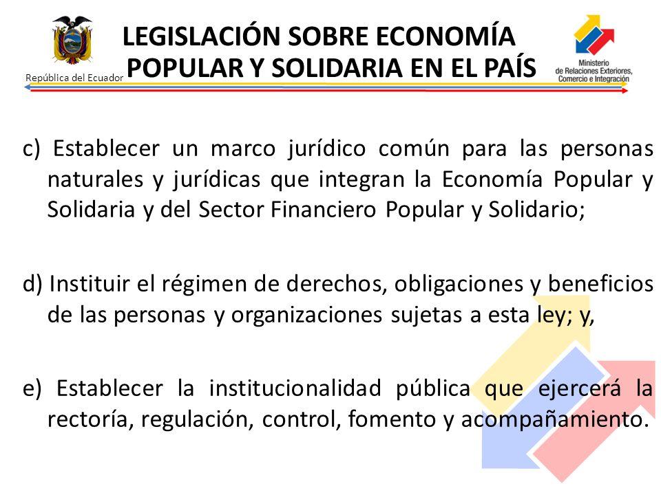 LEGISLACIÓN SOBRE ECONOMÍA POPULAR Y SOLIDARIA EN EL PAÍS