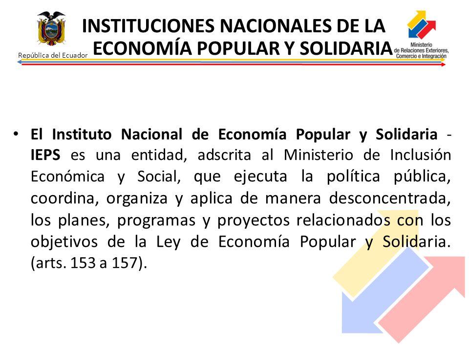 INSTITUCIONES NACIONALES DE LA ECONOMÍA POPULAR Y SOLIDARIA