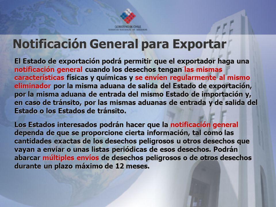 Notificación General para Exportar