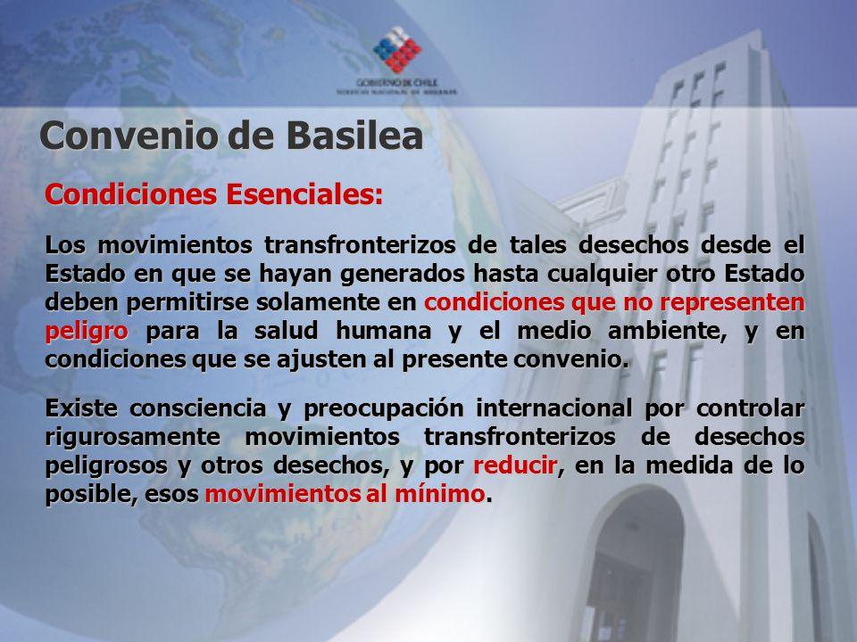Convenio de Basilea Condiciones Esenciales: