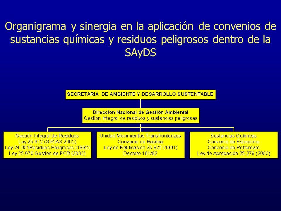 Organigrama y sinergia en la aplicación de convenios de sustancias químicas y residuos peligrosos dentro de la SAyDS